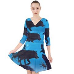 Awesome Black Wolf With Crow And Spider Quarter Sleeve Front Wrap Dress by FantasyWorld7