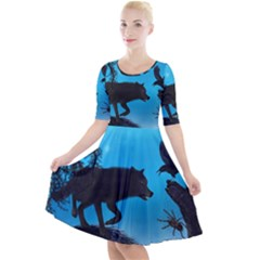 Awesome Black Wolf With Crow And Spider Quarter Sleeve A Line Dress by FantasyWorld7