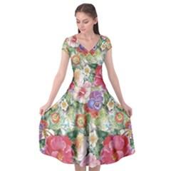 Watercolor Flowers Cap Sleeve Wrap Front Dress