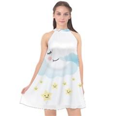 Moon Star Dream Night Halter Neckline Chiffon Dress