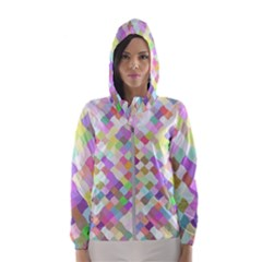 Mosaic Colorful Pattern Geometric Hooded Windbreaker (women)