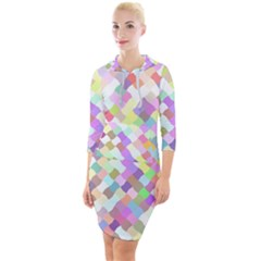 Mosaic Colorful Pattern Geometric Quarter Sleeve Hood Bodycon Dress by Mariart