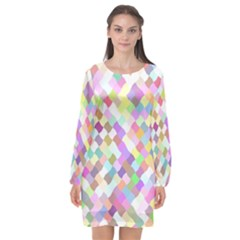 Mosaic Colorful Pattern Geometric Long Sleeve Chiffon Shift Dress  by Mariart