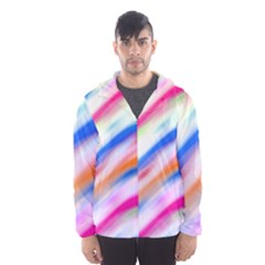 Vivid Colorful Wavy Abstract Print Hooded Windbreaker (men) by dflcprintsclothing