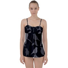 Bird Watching   Dark Grayscale   Babydoll Tankini Set by WensdaiAmbrose
