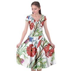 Red And Blue Summer Flowers Cap Sleeve Wrap Front Dress by goljakoff