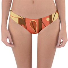 Amber Yellow Stripes Leaves Floral Reversible Hipster Bikini Bottoms by Mariart