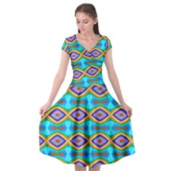 Abstract Colorful Unique Cap Sleeve Wrap Front Dress by Alisyart
