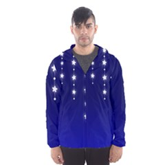 Star Background Blue Hooded Windbreaker (men)