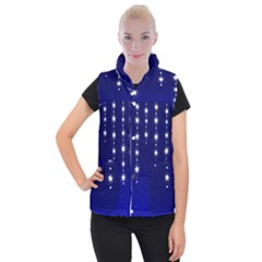 Star Background Blue Women s Button Up Vest