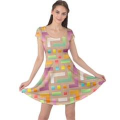Abstract Background Colorful Cap Sleeve Dress