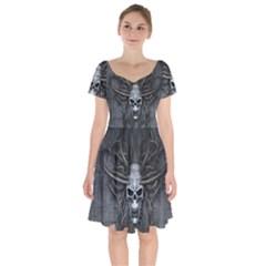 Background Skull Head Scary Gothic Squid Short Sleeve Bardot Dress by Desi8477