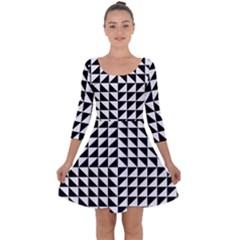 Optical Illusion Illusion Black Quarter Sleeve Skater Dress
