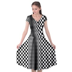 Art Optical Black White Contrast Cap Sleeve Wrap Front Dress