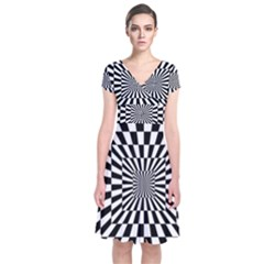 Optical Illusion Chessboard Tunnel Short Sleeve Front Wrap Dress by Pakrebo