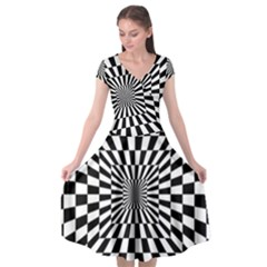 Optical Illusion Chessboard Tunnel Cap Sleeve Wrap Front Dress by Pakrebo