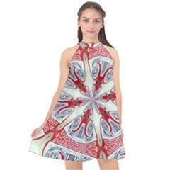 Kaleidoscope Background Bottles Halter Neckline Chiffon Dress