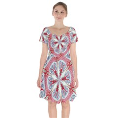 Kaleidoscope Background Bottles Short Sleeve Bardot Dress