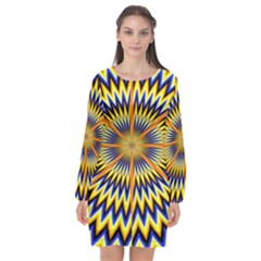 Illusion Head Idea Irritation Long Sleeve Chiffon Shift Dress  by Pakrebo