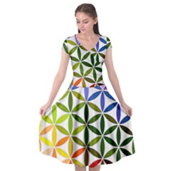 Mandala Rainbow Colorful Reiki Cap Sleeve Wrap Front Dress