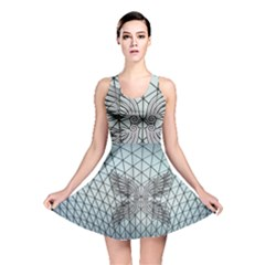 Graphic Pattern Wing Art Reversible Skater Dress