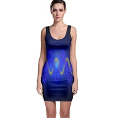 Light Shining Blue Frequency Sine Bodycon Dress