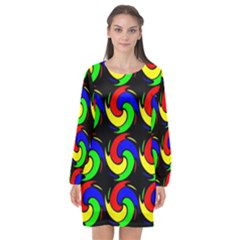 Swirls Pattern Seamless Wallpaper Long Sleeve Chiffon Shift Dress