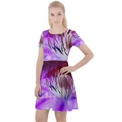 Clematis Structure Close Up Blossom Cap Sleeve Velour Dress  by Pakrebo