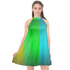 Lines Rainbow Colors Spectrum Color Halter Neckline Chiffon Dress