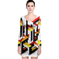 Maze Illusion Drawing Vector Long Sleeve Bodycon Dress