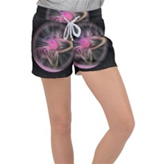 Stress Fractal Round Ball Light Women s Velour Lounge Shorts by Pakrebo