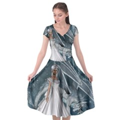 Wonderful Girl With Ice Dragon Cap Sleeve Wrap Front Dress by FantasyWorld7