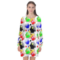 Pattern Background Wallpaper Design Long Sleeve Chiffon Shift Dress