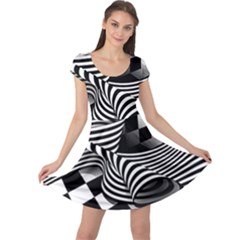 Op Art Black White Drawing Cap Sleeve Dress