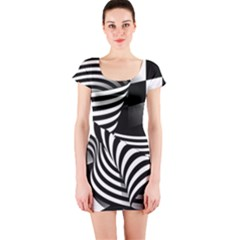 Op Art Black White Drawing Short Sleeve Bodycon Dress