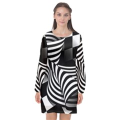 Op Art Black White Drawing Long Sleeve Chiffon Shift Dress
