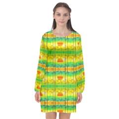 Birds Beach Sun Abstract Pattern Long Sleeve Chiffon Shift Dress  by Pakrebo