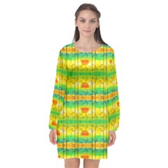 Birds Beach Sun Abstract Pattern Long Sleeve Chiffon Shift Dress