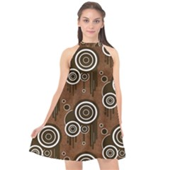 Abstract Background Brown Swirls Halter Neckline Chiffon Dress