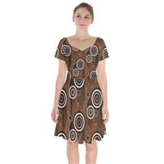 Abstract Background Brown Swirls Short Sleeve Bardot Dress by Pakrebo