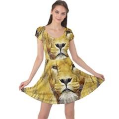 Lion Lioness Wildlife Hunter Cap Sleeve Dress