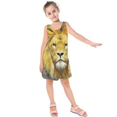 Lion Lioness Wildlife Hunter Kids  Sleeveless Dress