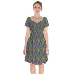 Pattern Abstract Paisley Swirls Short Sleeve Bardot Dress