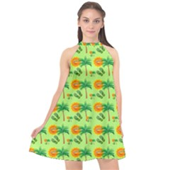 Holiday Tropical Smiley Face Palm Halter Neckline Chiffon Dress