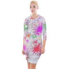 Star Dab Farbkleckse Leaf Flower Quarter Sleeve Hood Bodycon Dress by Pakrebo