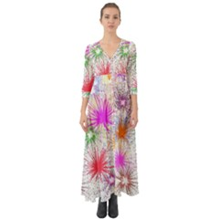 Star Dab Farbkleckse Leaf Flower Button Up Boho Maxi Dress