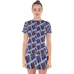 Abstract Pattern Seamless Artwork Drop Hem Mini Chiffon Dress by Pakrebo