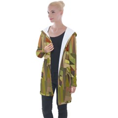 Earth Tones Geometric Shapes Unique Longline Hooded Cardigan