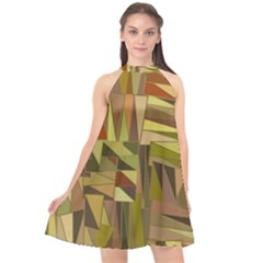 Earth Tones Geometric Shapes Unique Halter Neckline Chiffon Dress  by Mariart
