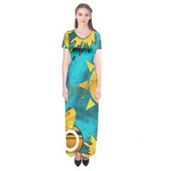 Gold Music Clef Star Dove Harmony Short Sleeve Maxi Dress